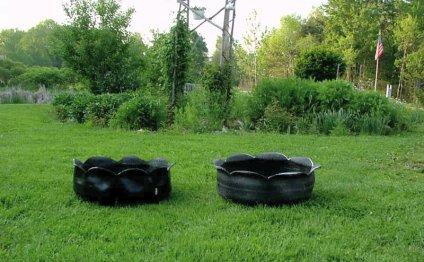 Клумба-вазон из старой шины